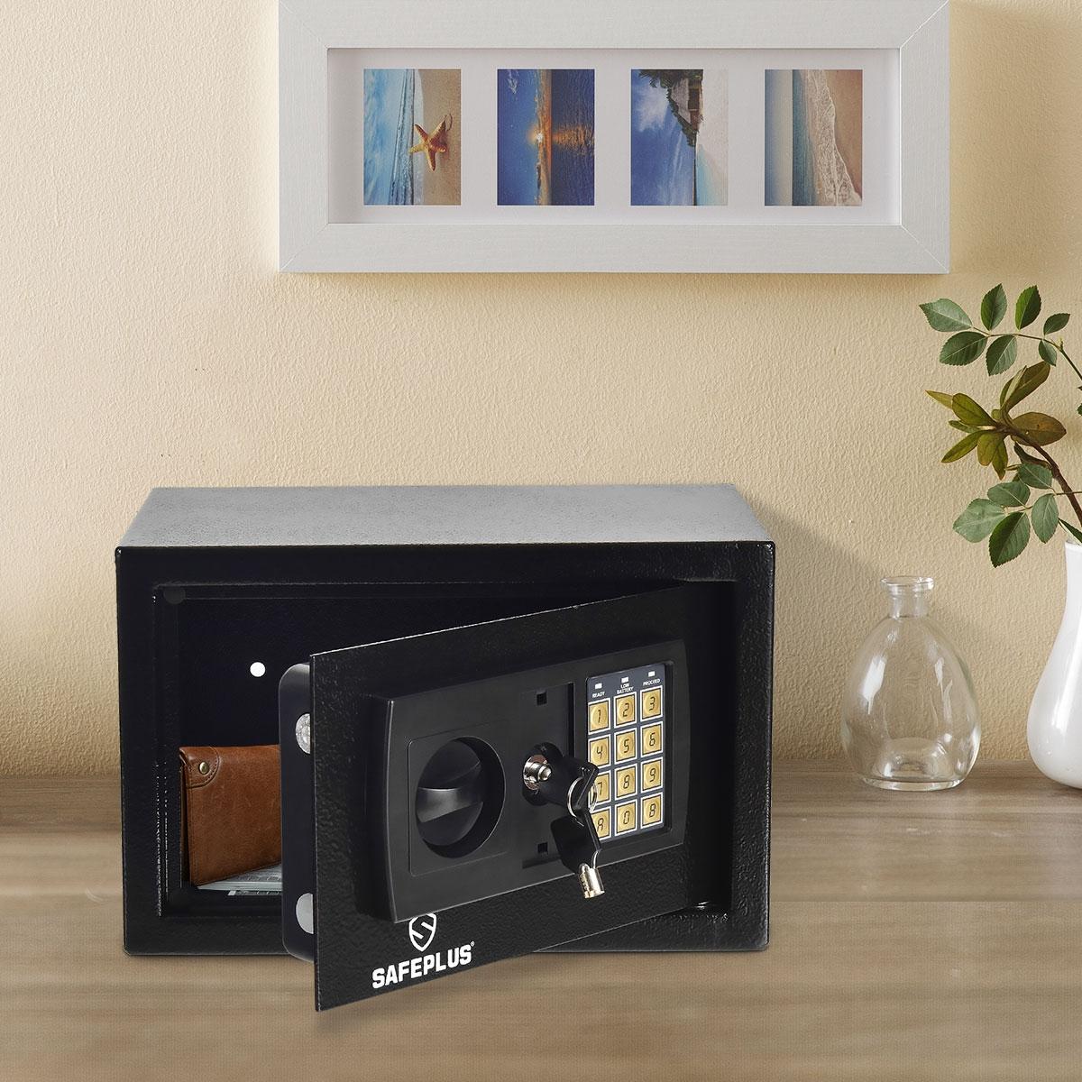 Costway Cassaforte digitale elettronica con 2 chiavi Cssetta di sicurezza con tastierino numerico per casa e ufficio
