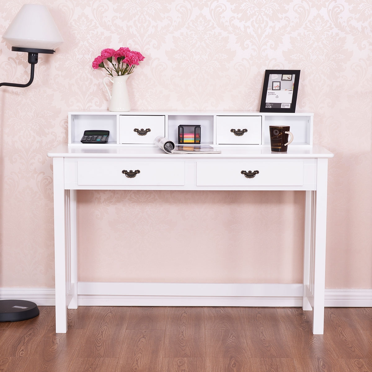 Costway Scrivania con 4 cassetti e gambe in solido legno di pino Scrivania per truccarsi con 2 livelli Bianco
