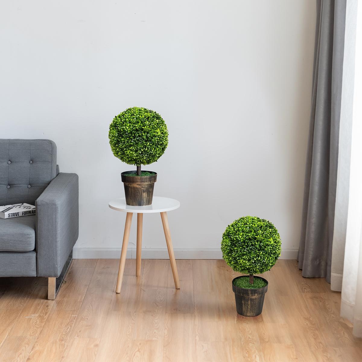 Costway 2 alberi rotondi in arte topiaria di legno di bosso Set di 2 piante finte con foglie e vaso