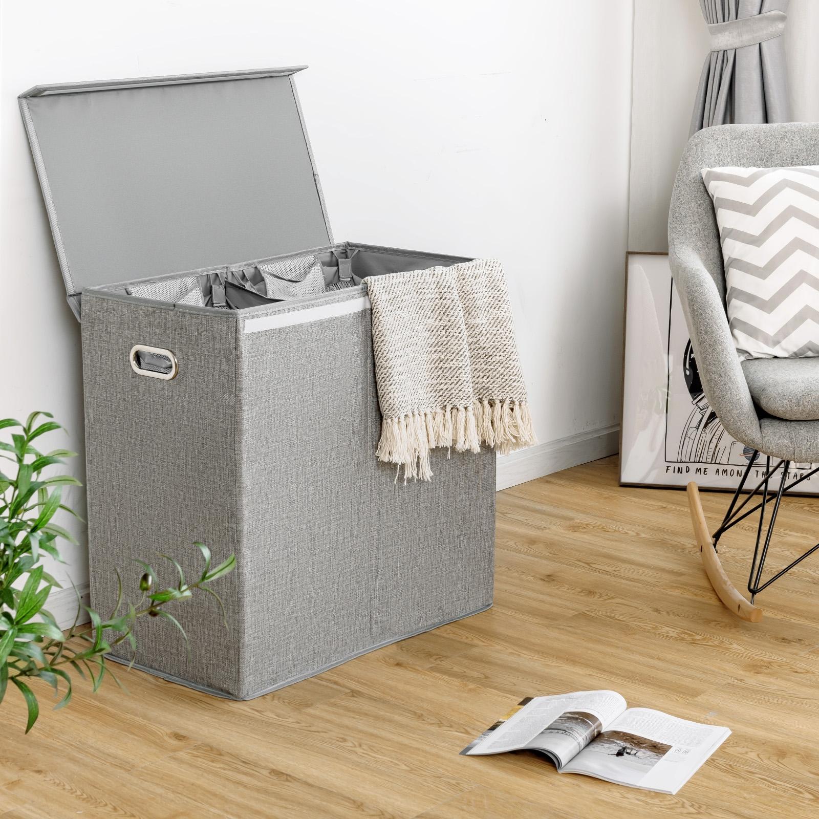 Costway Doppia cesta della biancheria sporca con coperchio rimovibile e 2 borse Classificatore pieghevole vestiti grigio