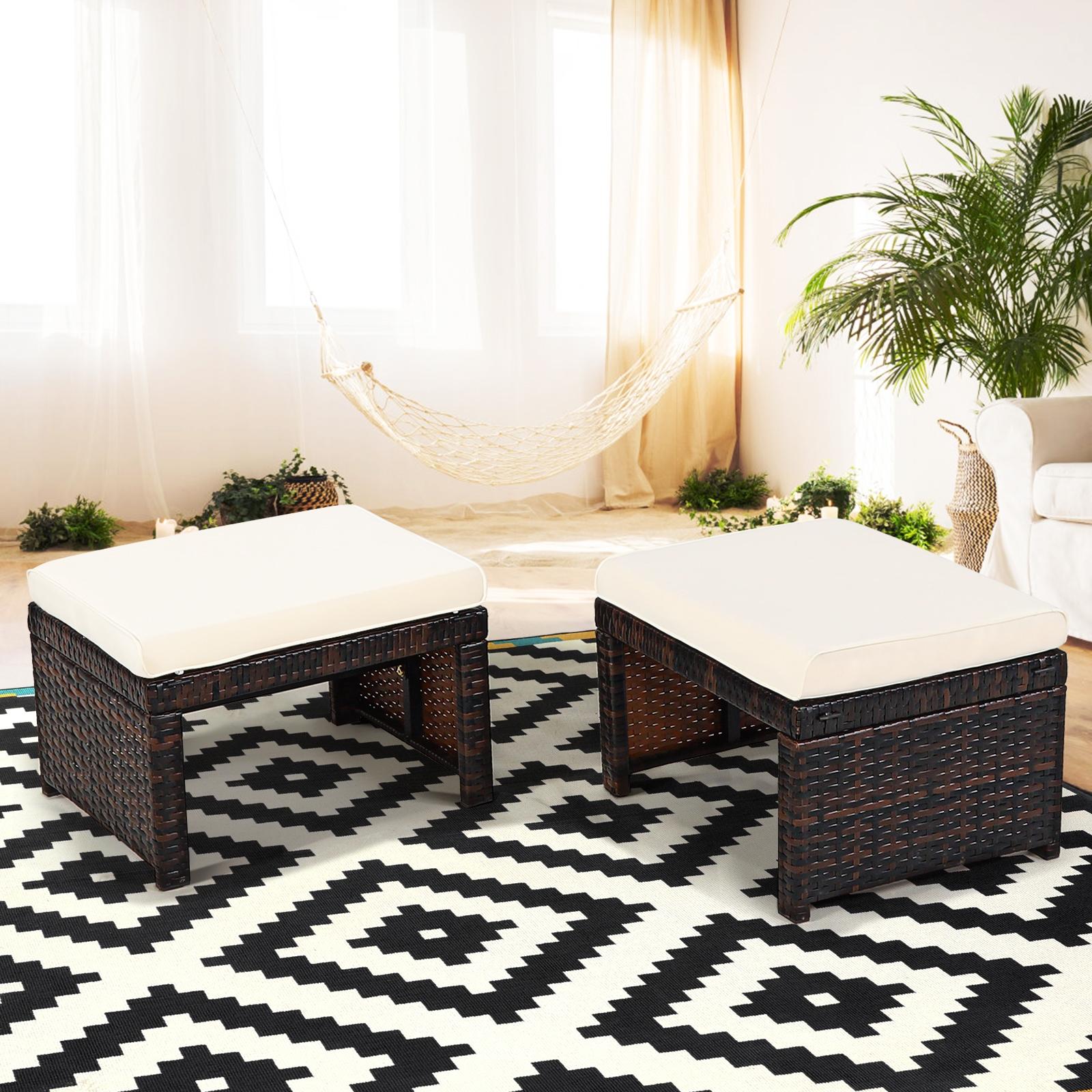 Costway Set di 2 poggiapiedi in rattan PE resistenti alle intemperie con cuscino morbido Ottomane da esterno Bianco