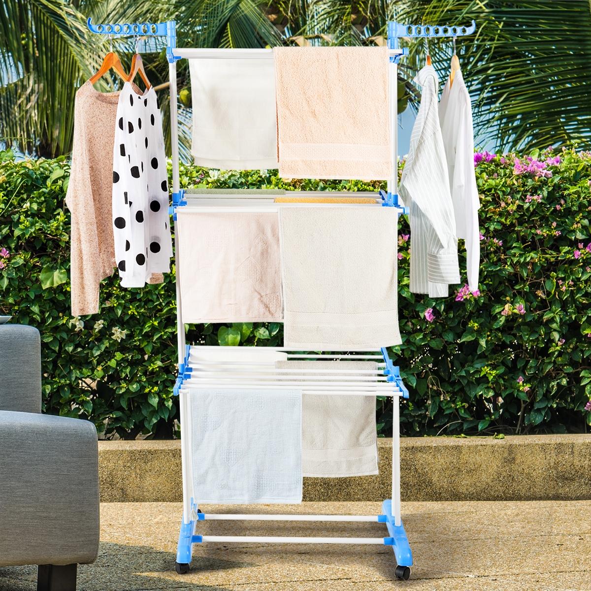 Costway Stendibiancheria per lavanderia a 3 piani portatile con ali pieghevoli Asta appendiabiti per stendibiancheria pesante pieghevole Blu