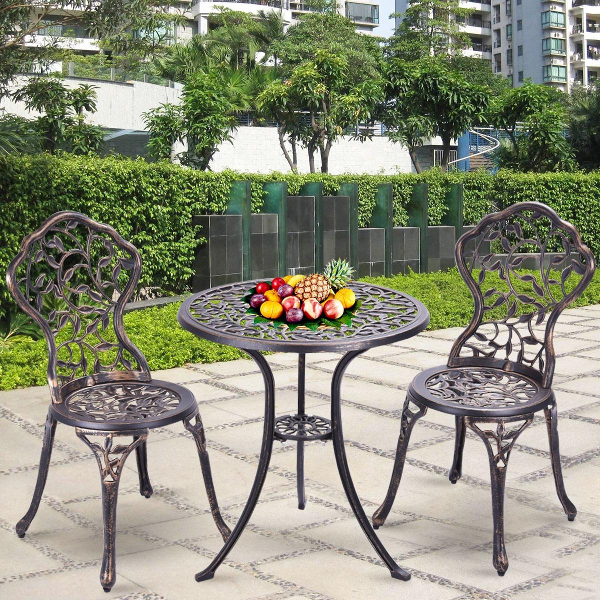 Costway Set tavolo e 2 sedie da giardino Set mobili 3 pezzi per esterno in metallo colore bronzo