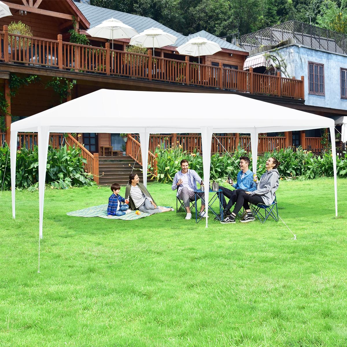 Costway Gazebo con 4 tende laterali rimovibili e 2 porte con cerniera 3x6m Pergola per barbecue con borsa di trasporto Bianco