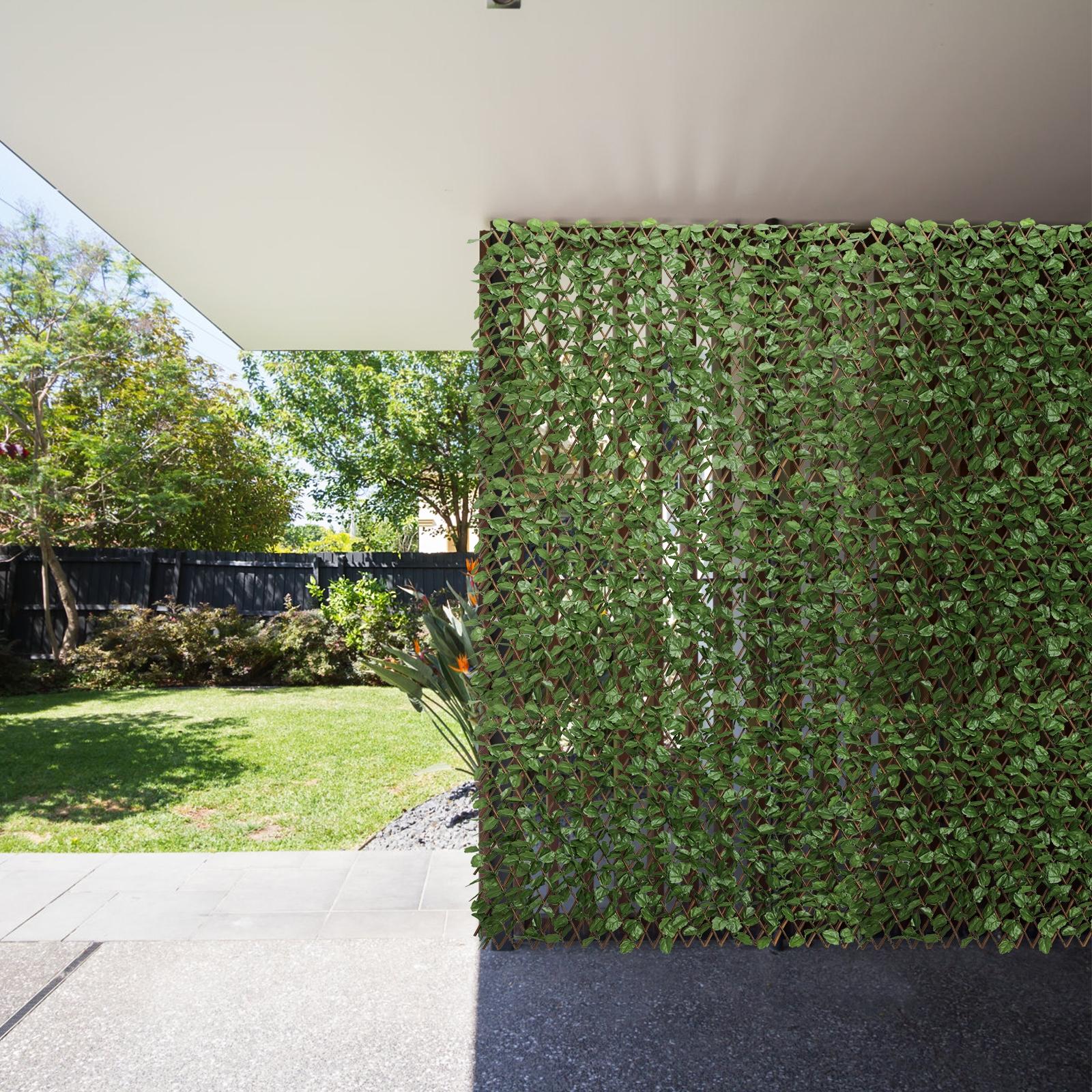 Costway Siepe retrattile ed espandibile con foglie finte per cancello e privacy Siepe per decorazione interna ed esterna
