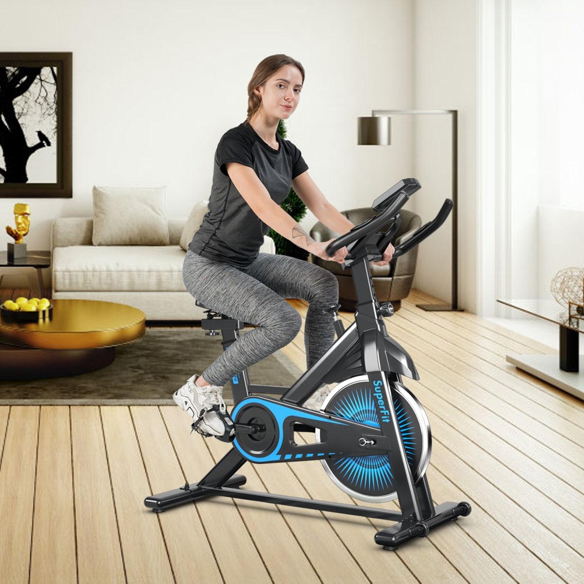 Costway Cyclette silenziosa per allenamento con resistenza regolabile e schermo LCD Bici spinning fitness in casa e palestra Nero e blu