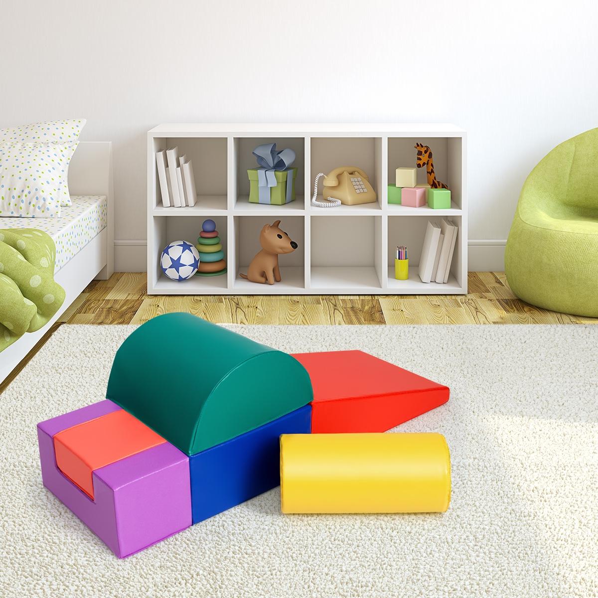 Costway Set con 6 pezzi per giocare e arrampicarsi Blocchi giocattolo educativo per bambini
