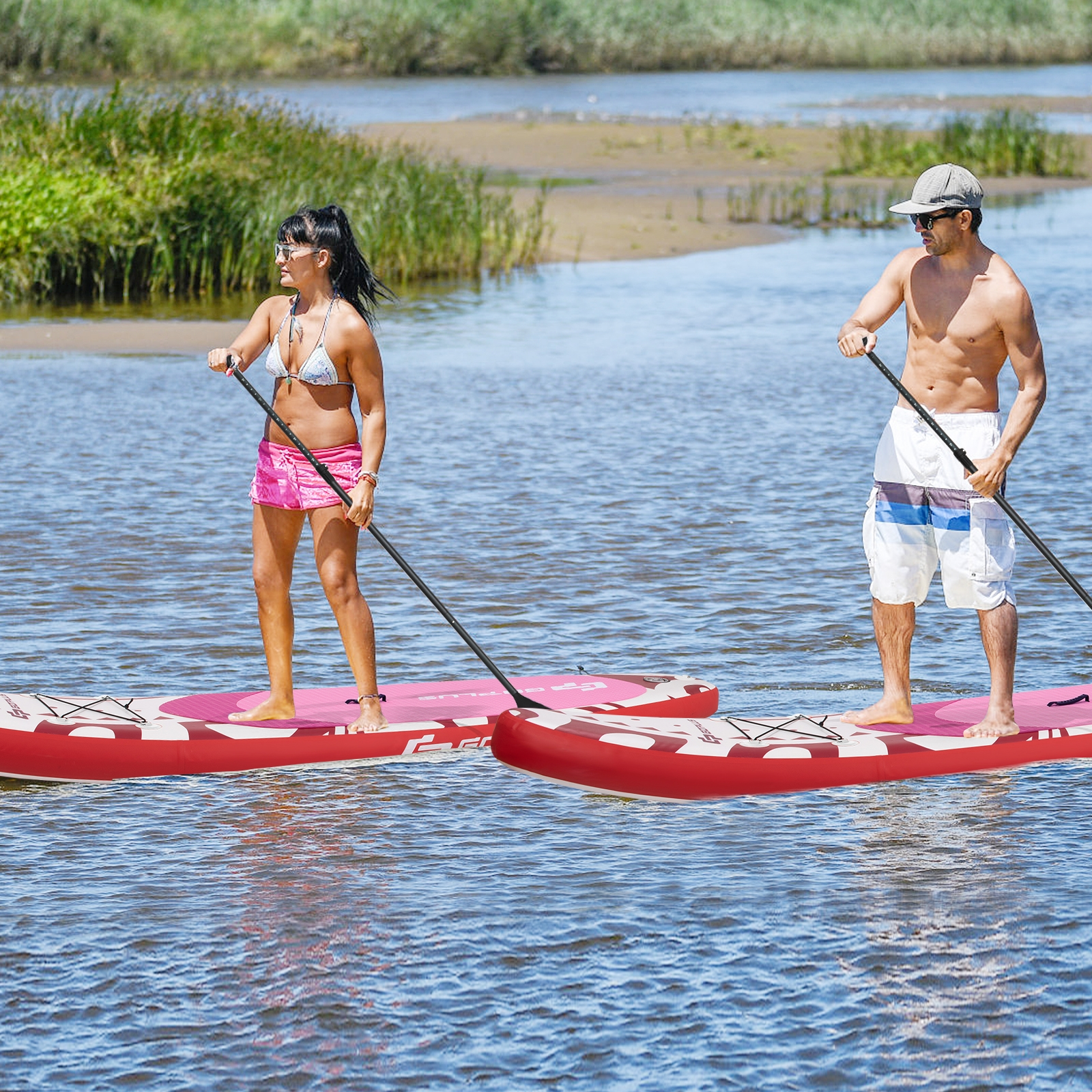 Costway Tavola gonfiabile da paddle per bambini e adulti Tavola SUP extra ampia con controllo surf 335x76x16cm Rosa