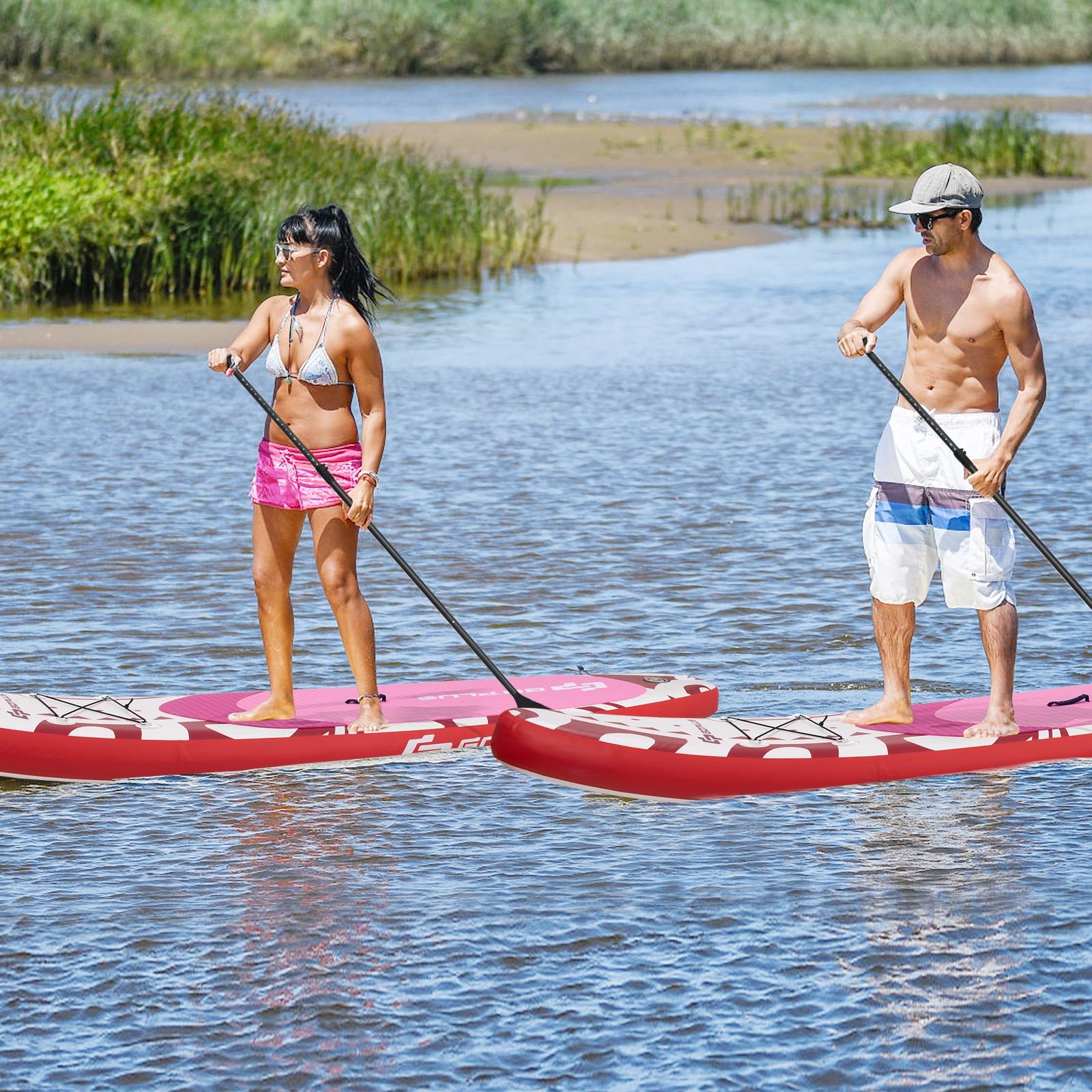 Costway Tavola gonfiabile da paddle per bambini e adulti Tavola SUP extra ampia con controllo surf 325x76x16cm Rosa