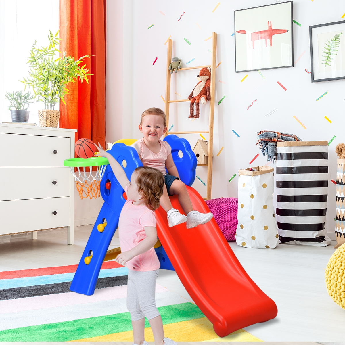 Costway Scivolo con cerchio di pallacanestro per bambini 3-8 anni Capacità di Carico 50kg