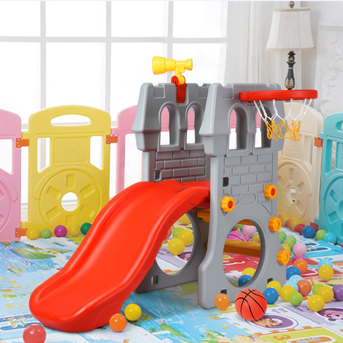 Costway Scivolo per bambini per interno ed esterno Castello con scivolo canestro e telescopio