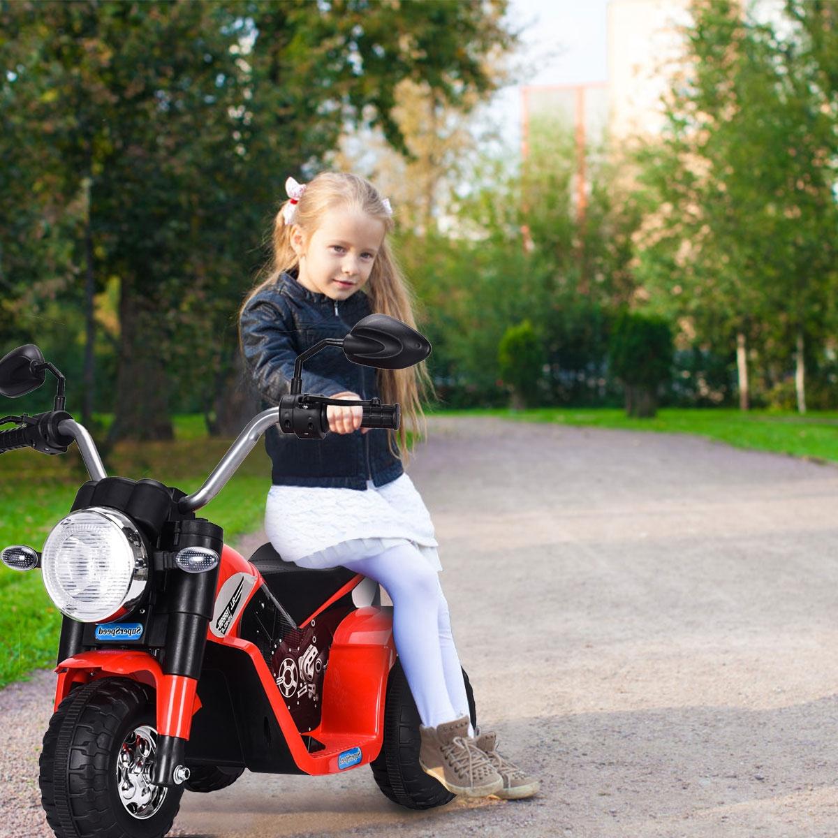Costway Moto elettrica multifunzione per bambini da 36-95 mesi con led 72x57x56cm Rosso
