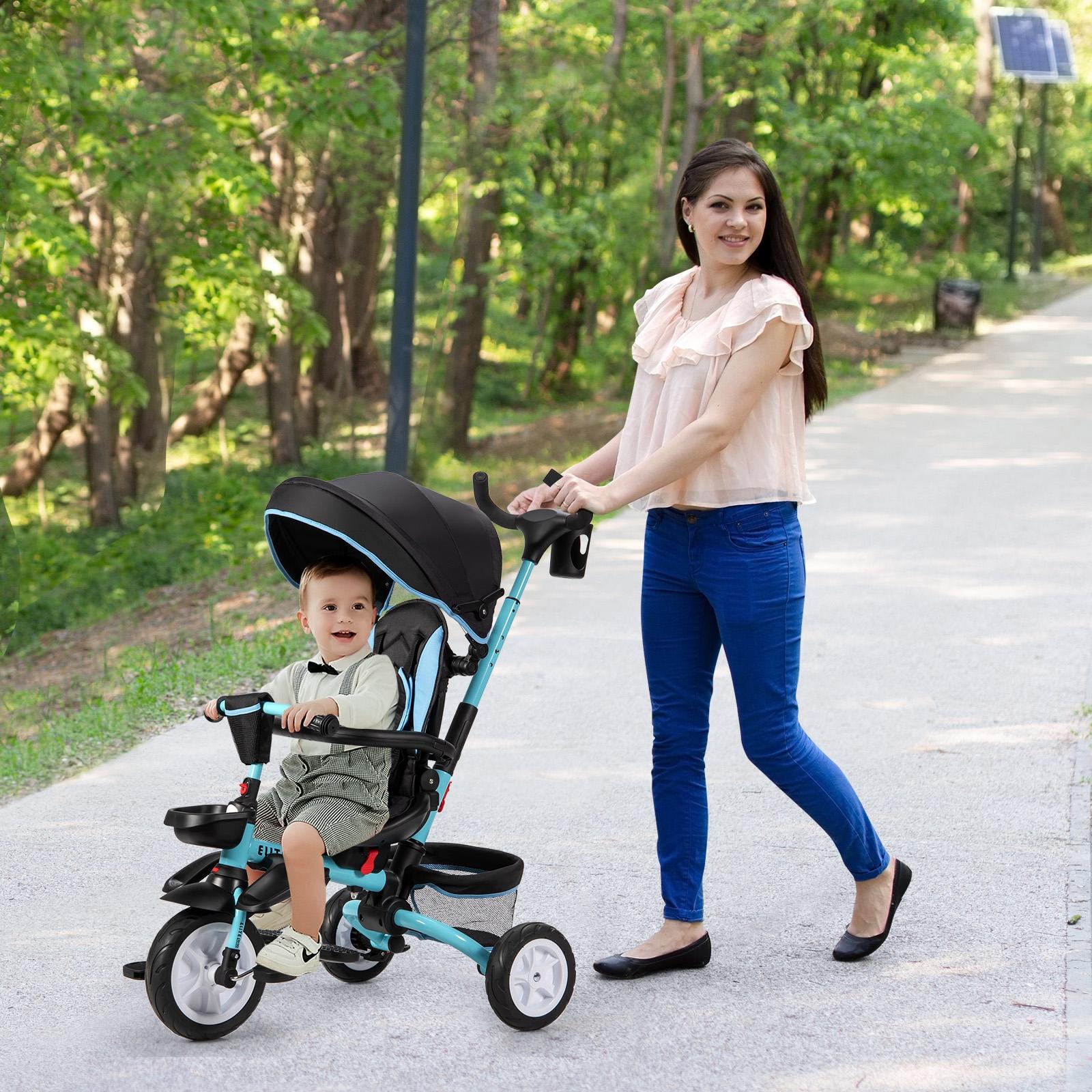 Costway Triciclo per bambini 12-50 mesi Passeggino triciclo 6 in 1 con tettuccio regolabile e rimovibile Blu