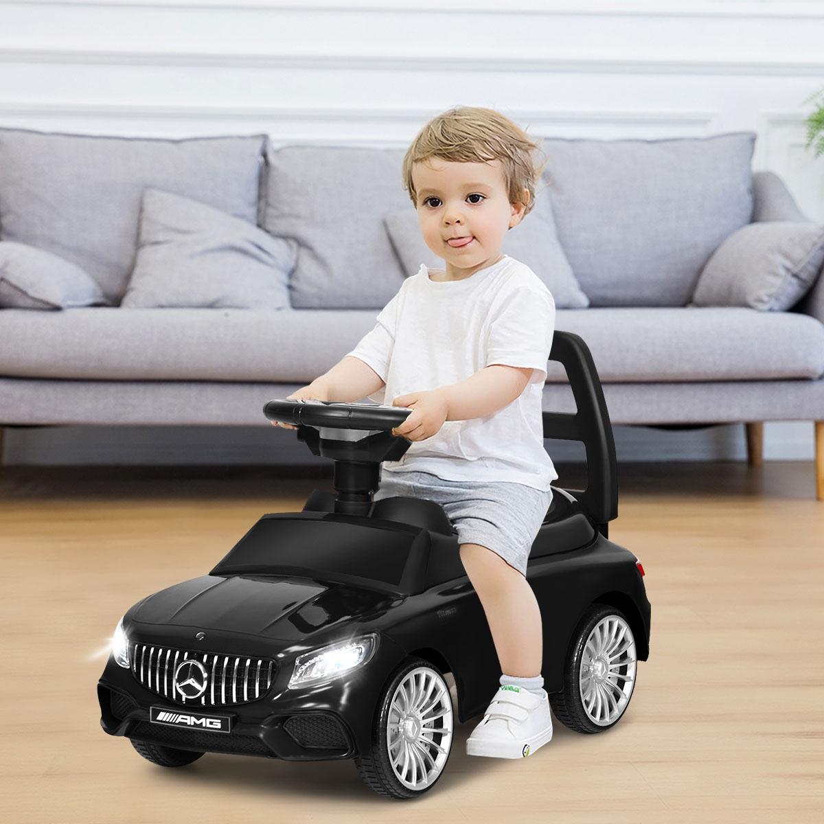 Costway Macchinina con fari LED per bambini Mercedes Benz giocattolo con clacson musica Nero