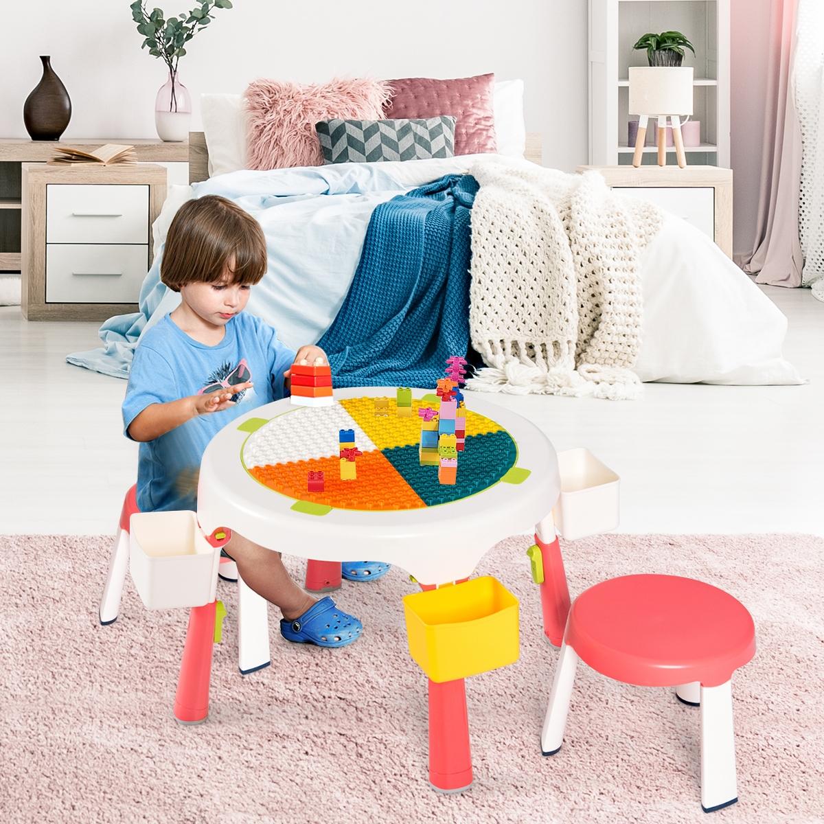 Costway Set tavolo e 2 sedie per bambini con altezza regolabile Set attività 5 in 1 con sabbia acqua blocchi Rosa